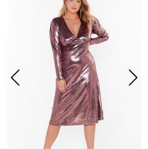 Nasty gal new pink metallic dress